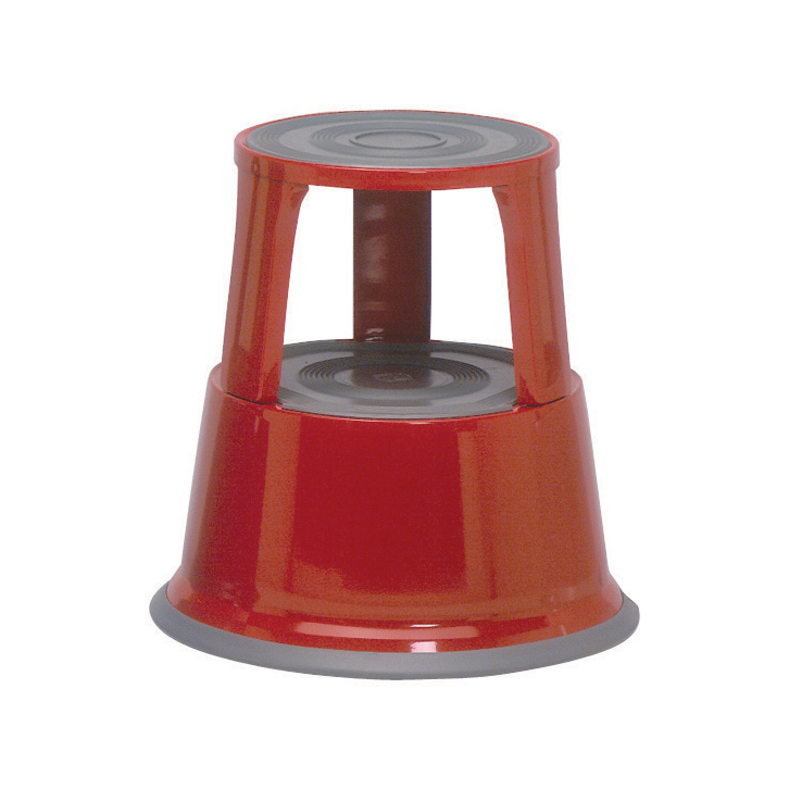 Image for 5 Star Facilities Step Stool Mobile Spring-loaded Castors Max 150kg Top D290xH430xBase D435mm 5kg Red