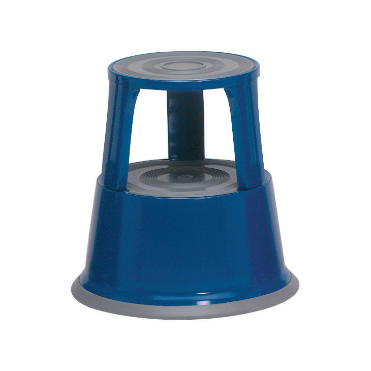 Image for 5 Star Facilities Step Stool Mobile Spring-loaded Castors Max 150kg Top D290xH430xBase D435mm 5kg Blue