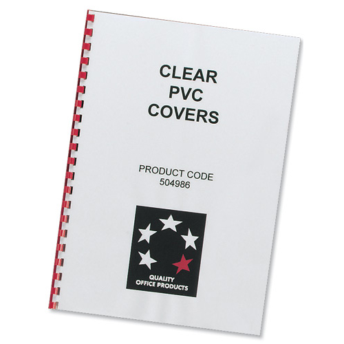 Cover Boards 5 Star Office Comb Binding Covers PVC 150 micron A4 Clear Pack 100