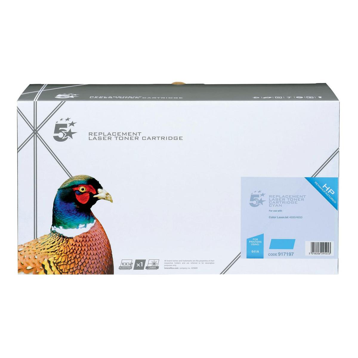 5 Star Office Remanufactured Laser Toner Cartridge Page Life 8000pp Cyan [HP 641A C9721A Alternative]