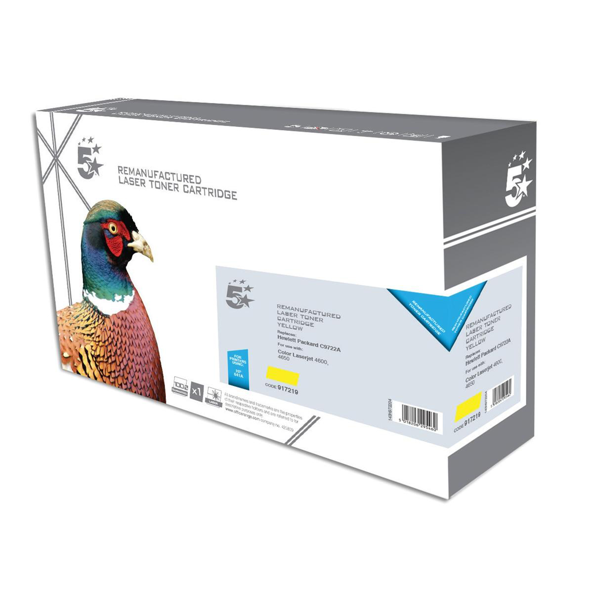 5 Star Office Remanufactured Laser Toner Cartridge Page Life 8000pp Yellow [HP 641A C9722A Alternative]