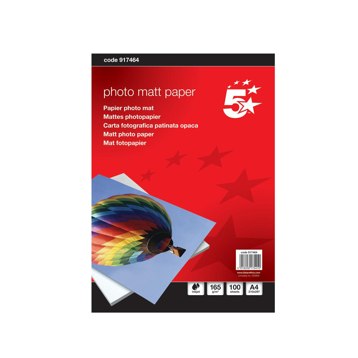 5 Star Office Inkjet Paper Matt 165gsm A4 White 100 Sheets