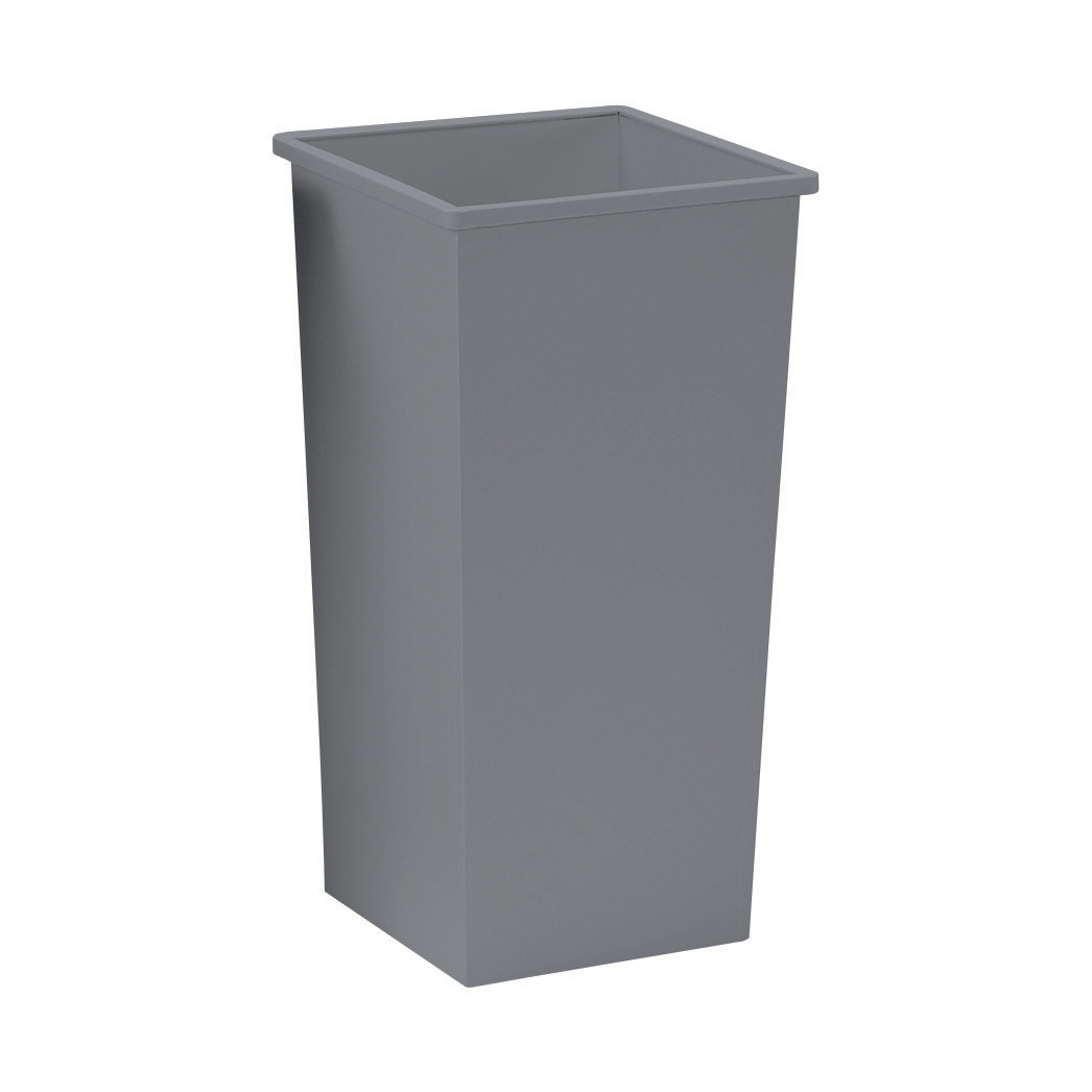 5 Star Facilities Waste Bin Square Metal Scratch Resistant 48 Litres 325x325x642mm Silver Metallic