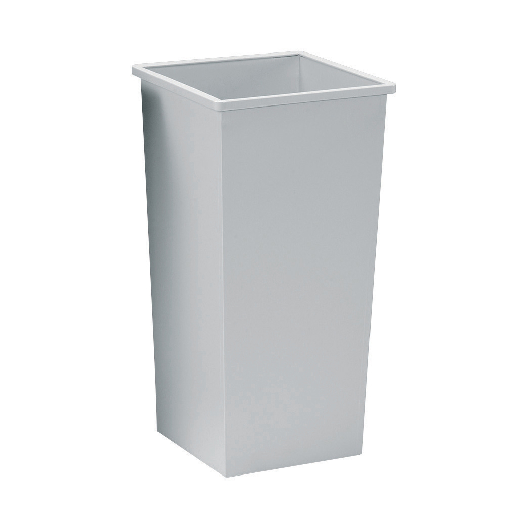 Rubbish Bins 5 Star Facilities Waste Bin Square Metal Scratch Resistant 48 Litres 325x325x642mm Grey