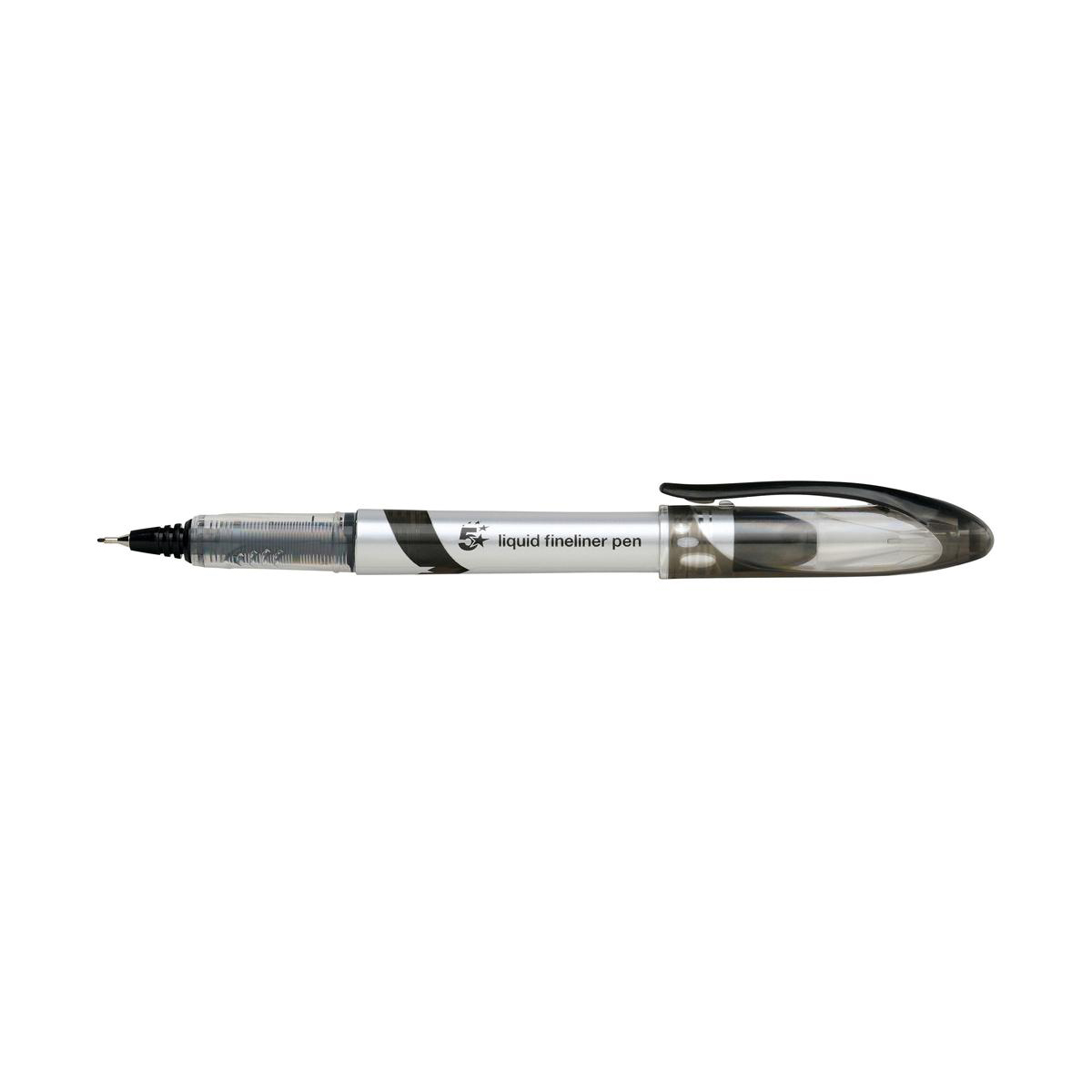 Image for 5 Star Elite Fineliner Pen Liquid 0.8mm Tip 0.4mm Line Black [Pack 12]