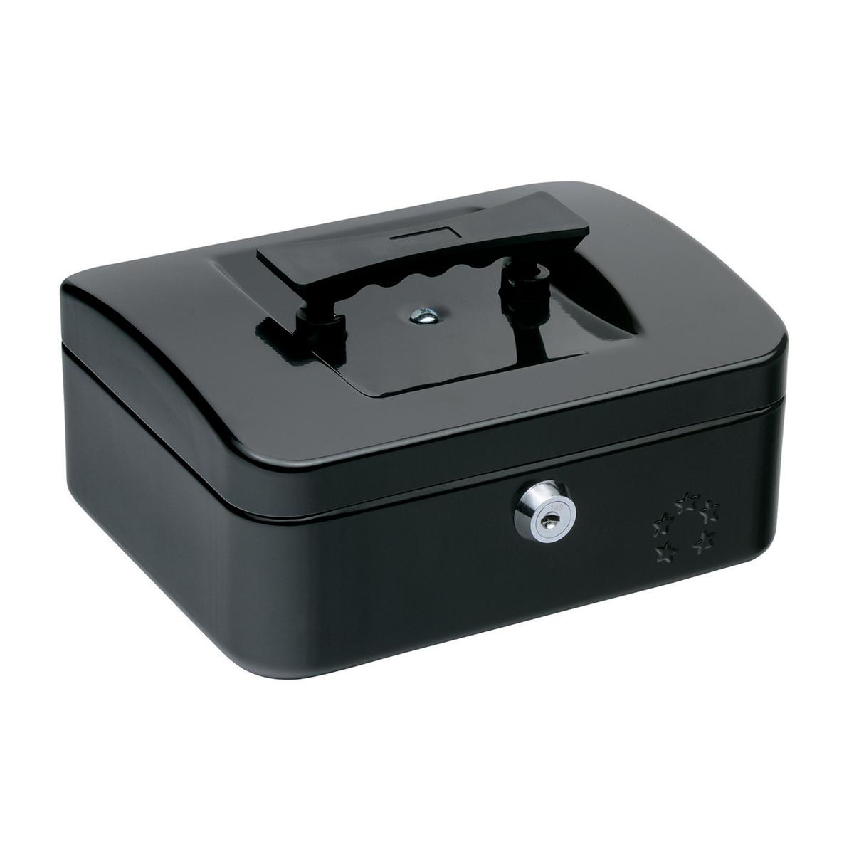 Cash 5 Star Facilities Cash Box with 5-compartment Tray Steel Spring Lock 8 Inch W200xD160xH70mm Black