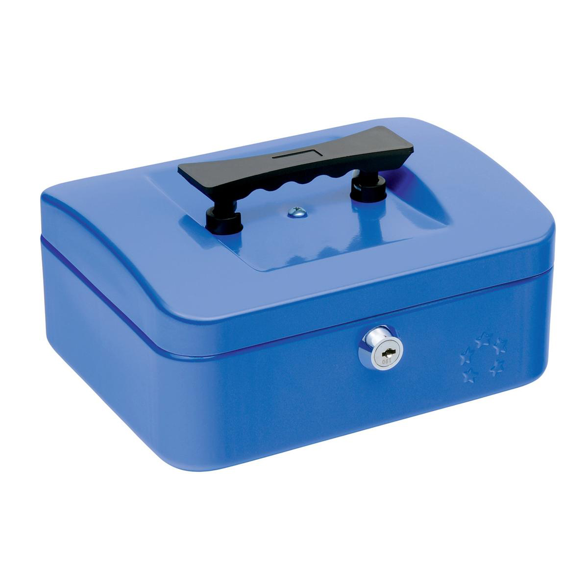 Cash 5 Star Facilities Cash Box with 5-compartment Tray Steel Spring Lock 8 Inch W200xD160xH70mm Blue