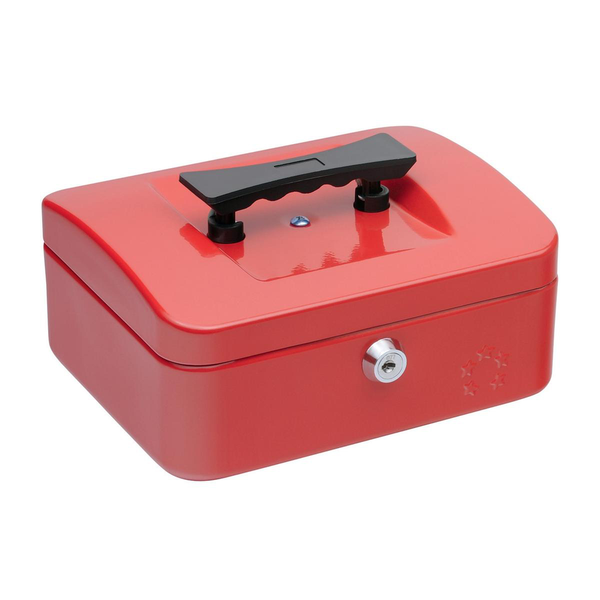 Cash 5 Star Facilities Cash Box with 5-compartment Tray Steel Spring Lock 8 Inch W200xD160xH70mm Red
