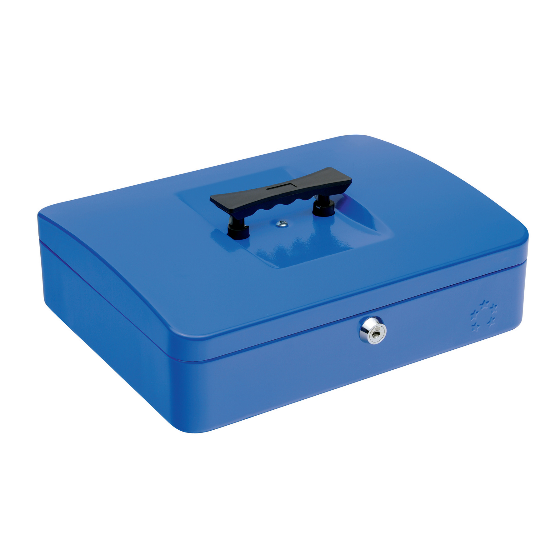 Cash 5 Star Facilities Cash Box with 5-compartment Tray Steel Spring Lock 12 Inch W300xD240xH70mm Blue