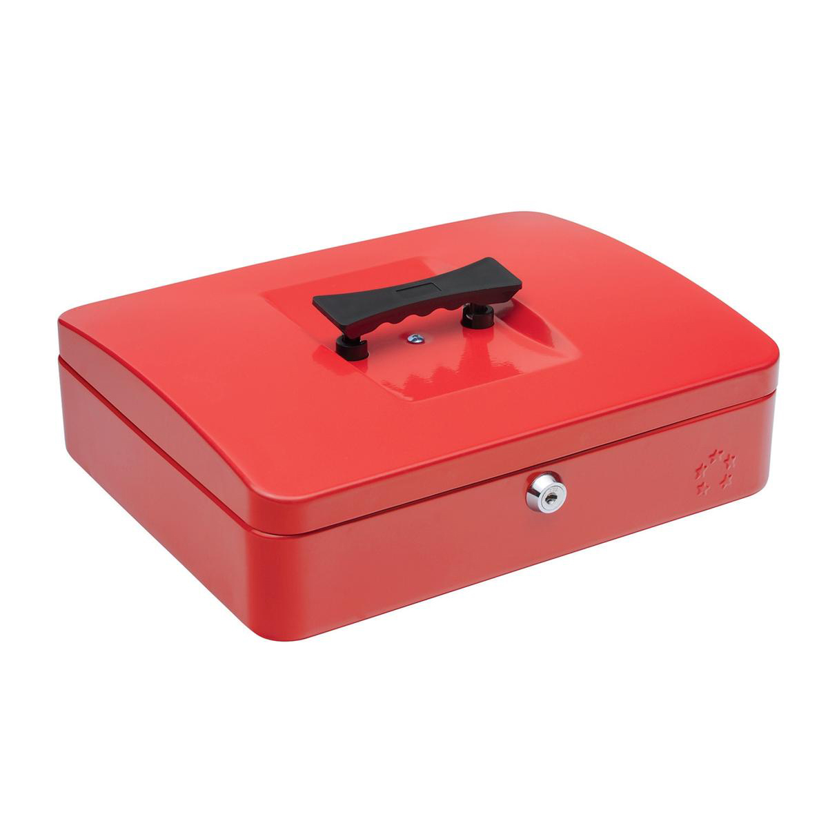Cash 5 Star Facilities Cash Box with 5-compartment Tray Steel Spring Lock 12 Inch W300xD240xH70mm Red