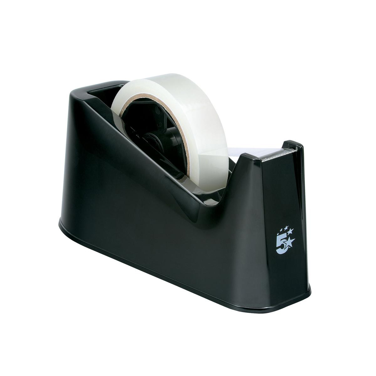 5 Star Office Tape Dispenser Desktop Weighted Non-slip Roll Capacity 25mm Width 75m Length Max Black