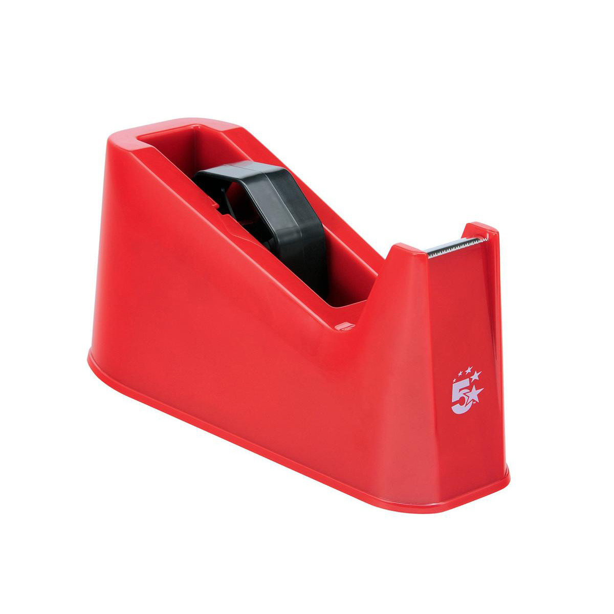 Tape Dispensers 5 Star Office Tape Dispenser Desktop Weighted Non-slip Roll Capacity 25mm Width 75m Length Max Red
