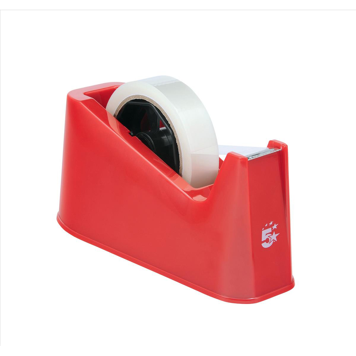 5 Star Office Tape Dispenser Desktop Weighted Non-slip Roll Capacity 25mm Width 75m Length Max Red