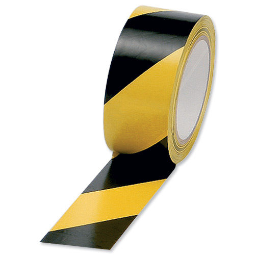 Printed & Coloured Tape 5 Star Office Hazard Tape Soft PVC Internal Use Adhesive 50mmx33m Black and Yellow Pack 6