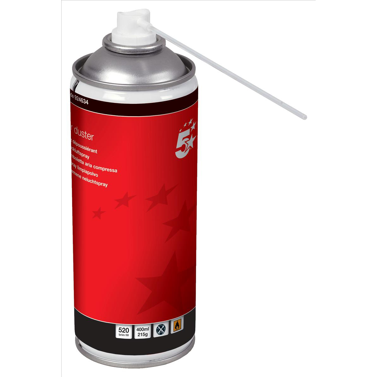 5 Star Office Spray Duster Can HFC Free Compressed Gas Flammable 400ml Pack 4