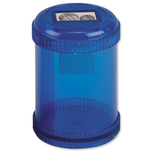 Sharpeners 5 Star Office Pencil Sharpener Plastic Canister Two Hole Max. Diameter 8/11mm Blue