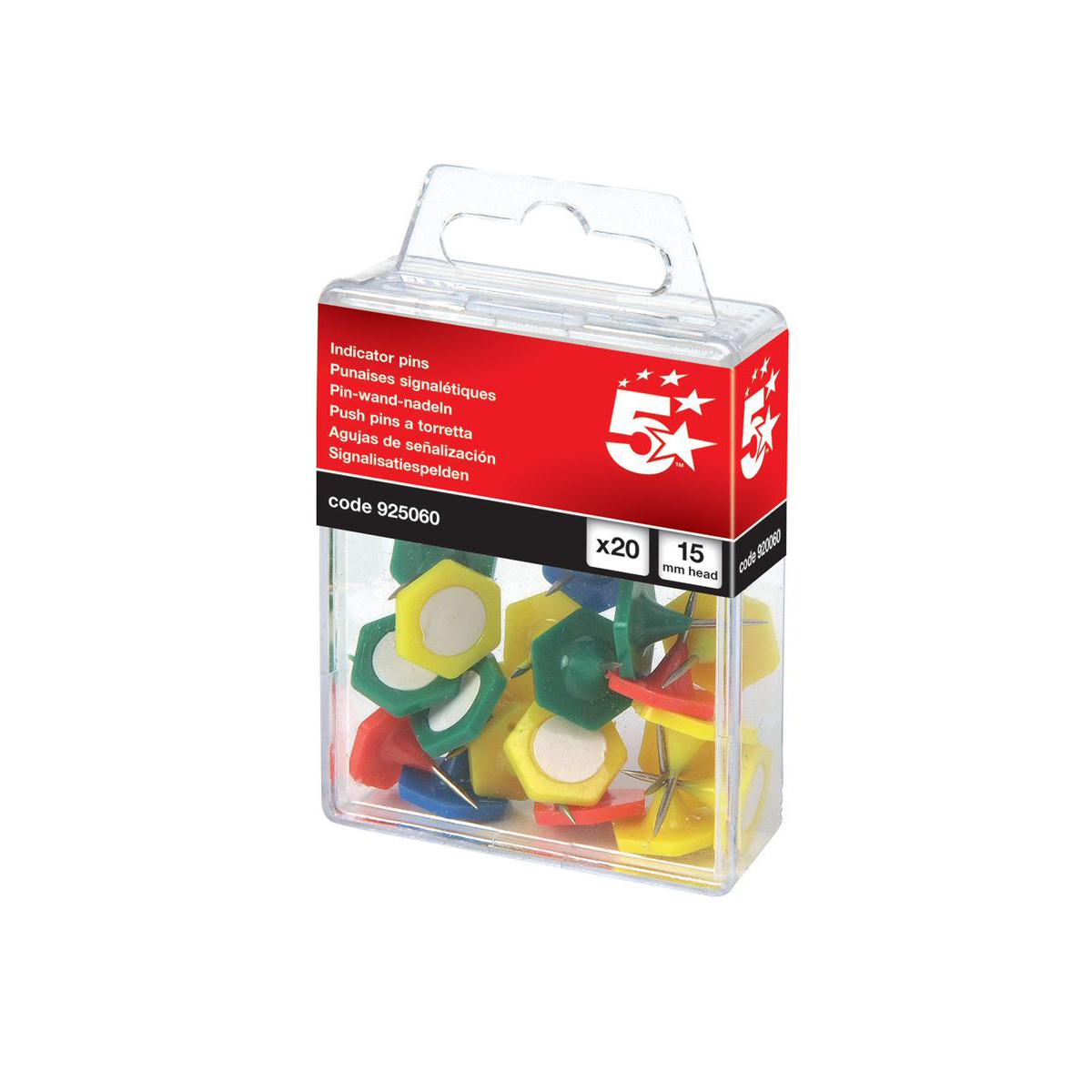 5 Star Office Indicator Pins 15mm Head Assorted Pack 20
