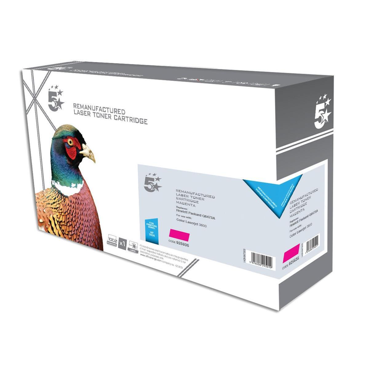5 Star Office Remanufactured Laser Toner Cartridge 4000pp Magenta [HP 502A Q6473A Alternative]