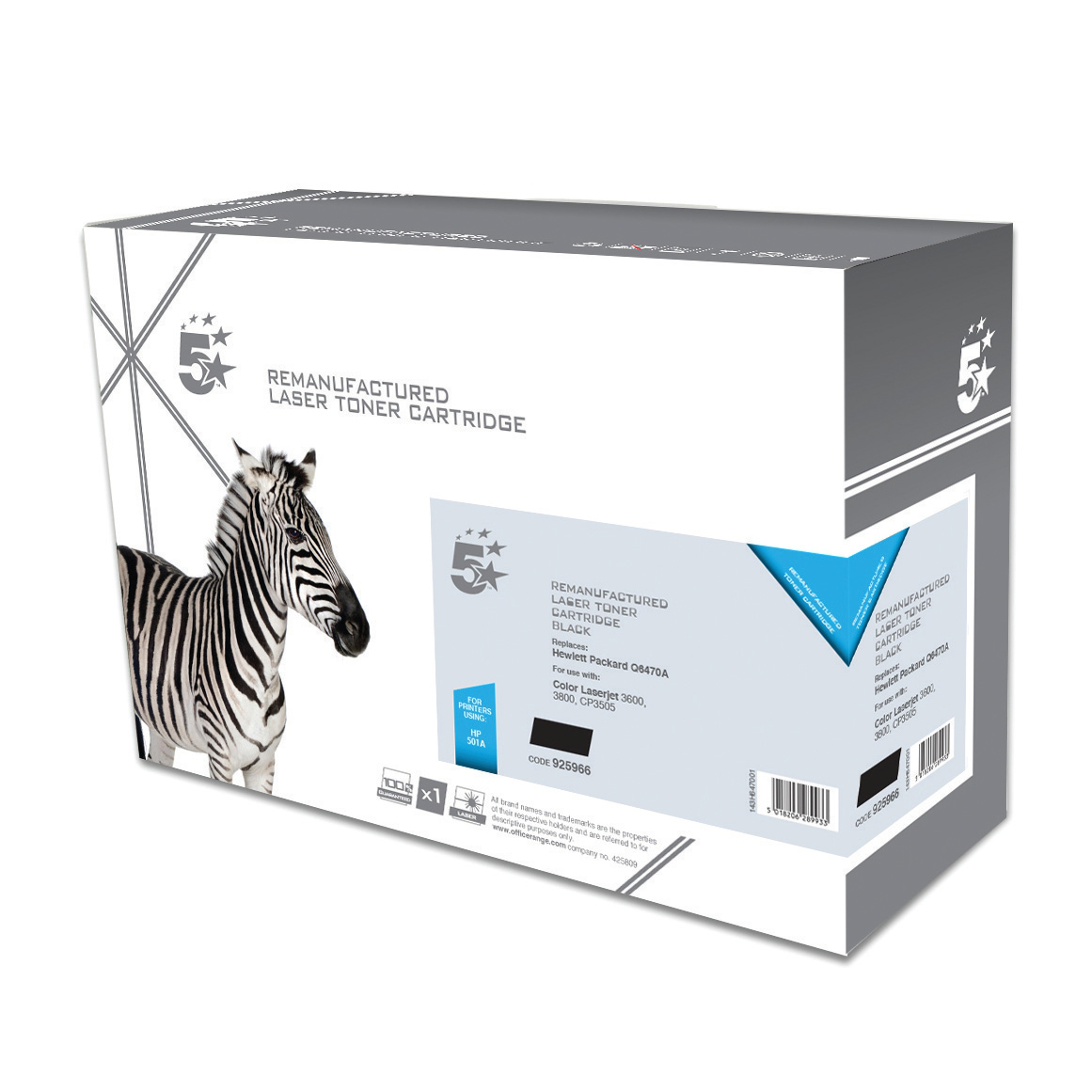 5 Star Office Remanufactured Laser Toner Cartridge 6000pp Black [HP 501A Q6470A Alternative]