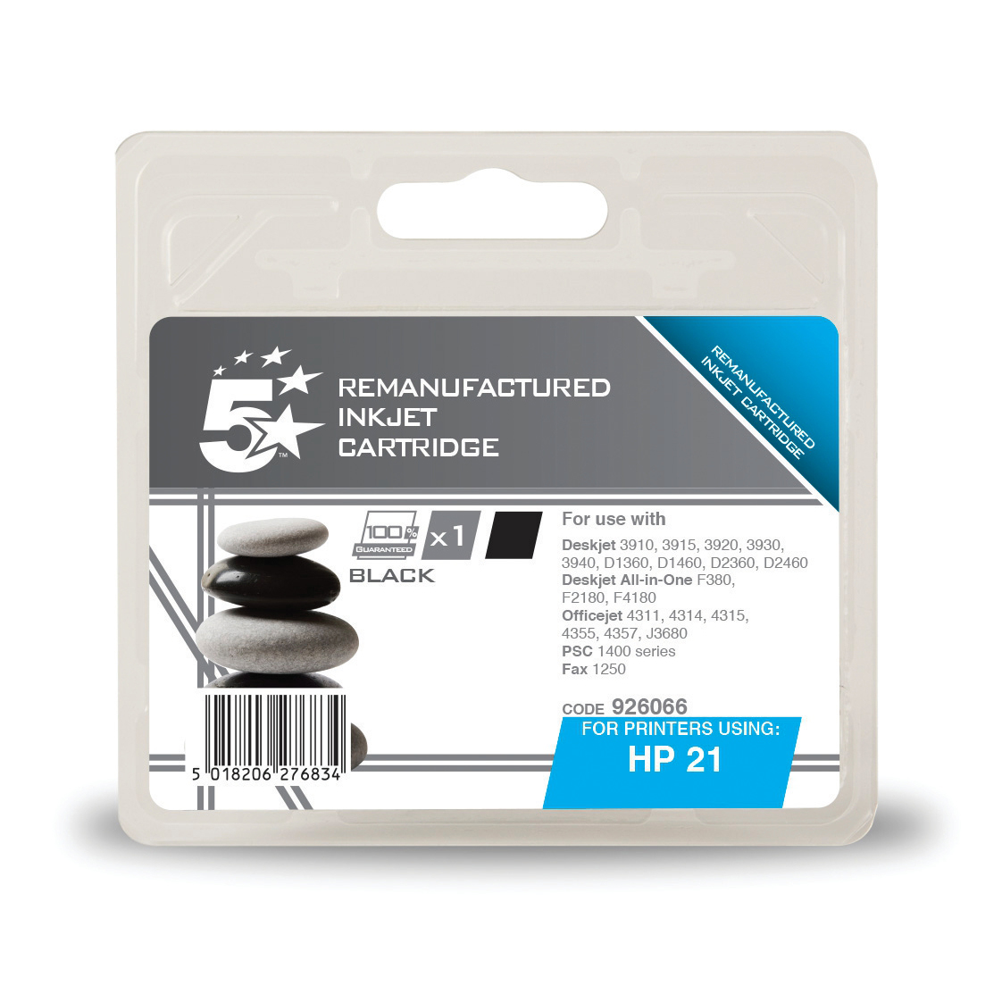 5 Star Office Remanufactured Inkjet Cartridge Page Life 190pp 5ml Black [HP No.21 C9351AE Alternative]