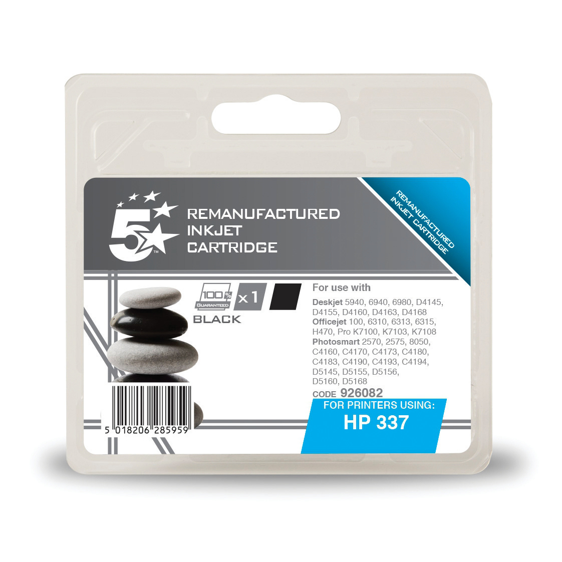 Printheads 5 Star Office Remanufactured Inkjet Cartridge Page Life 420pp 11ml Black HP No.337 C9364EE Alternative