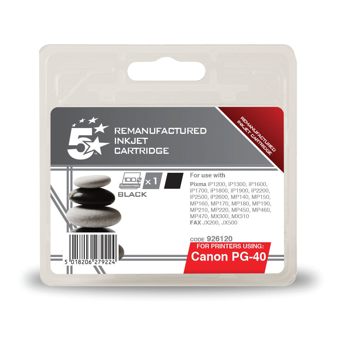 Image for 5 Star Office Remanufactured Fax Inkjet Cartridge Page Life 490pp Black [Canon PG-40 Alternative]