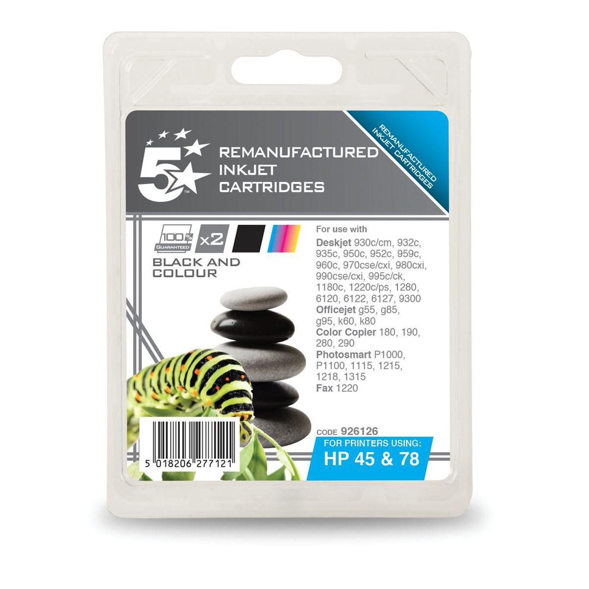 5 Star Office Reman IJCart 520pp 19ml Black/Tri-Colour 500pp 17ml HP 45/78 SA308AE Alternative][Pack 2]