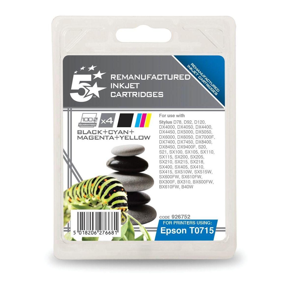5StarOfficeRemanufactured IJ Cartridges 5.5ml Blk/Cyan/Magenta/Yellow[Epson T071540 Alternative] [Pack 4]
