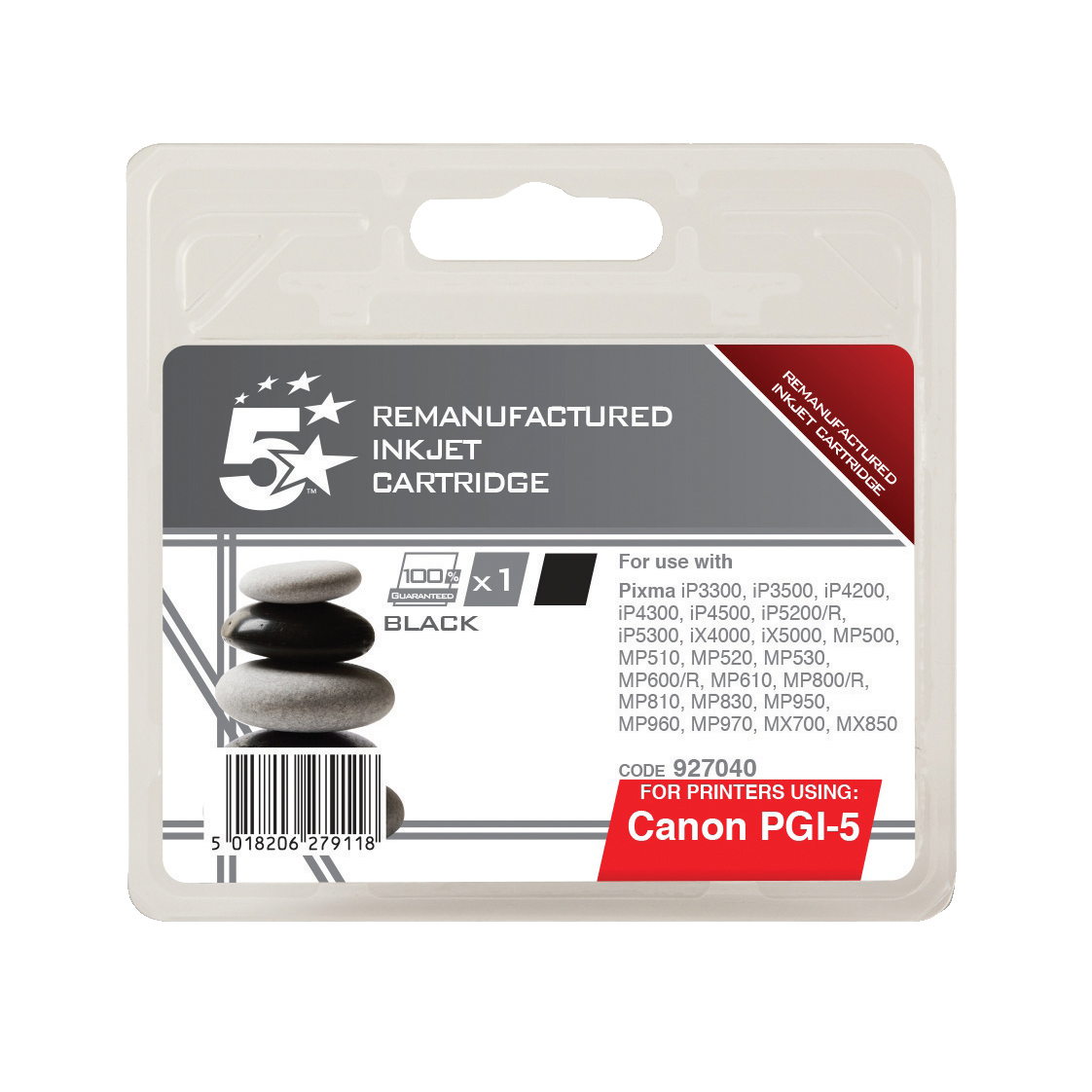 5 Star Office Remanufactured Inkjet Cartridge Page Life 505pp 26ml Black [Canon PGI-5BK Alternative]