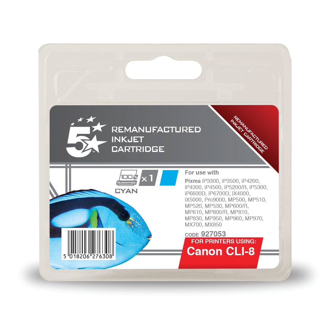5 Star Office Remanufactured Inkjet Cartridge Page Life 790pp Cyan [Canon CLI-8C Alternative]