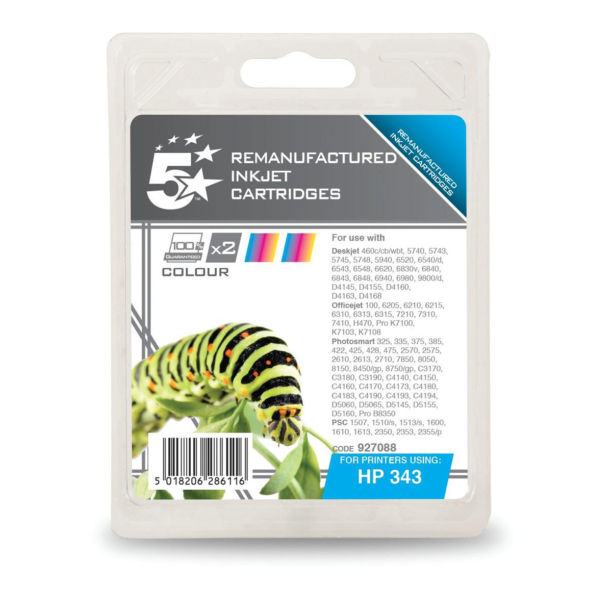 5 Star Office Remanufactured Inkjet Cart 260pp 7ml Tri-Colour [HP No.343 CB332EE Alternative] [Pack 2]