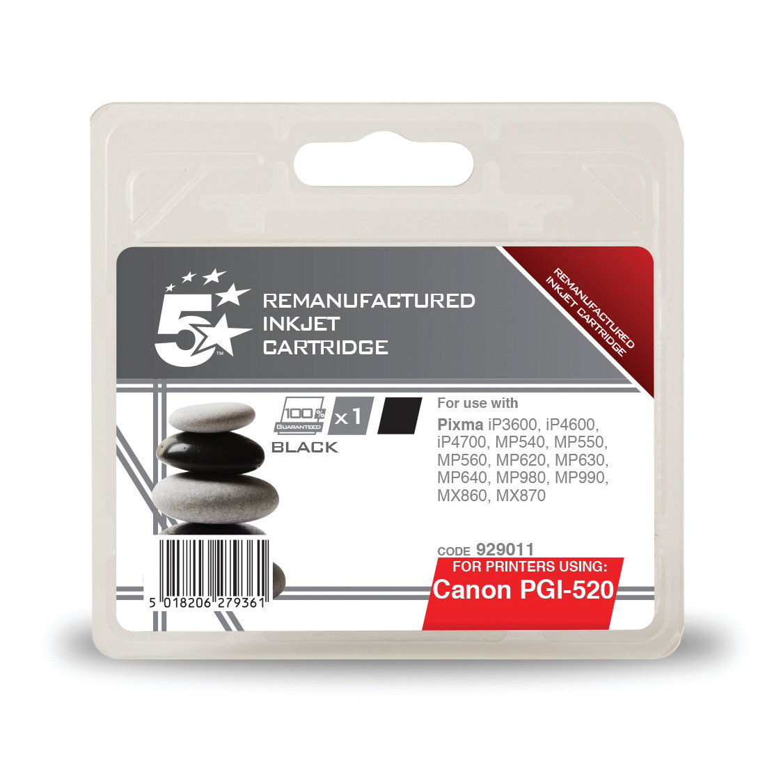 Printheads 5 Star Office Remanufactured Inkjet Cartridge Page Life 350pp Black 19ml Canon PGI-520BK Alternative