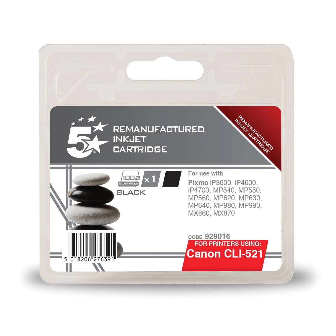 5 Star Office Remanufactured Inkjet Cartridge Page Life 3425pp 9ml Black [Canon CLI-521BK Alternative]