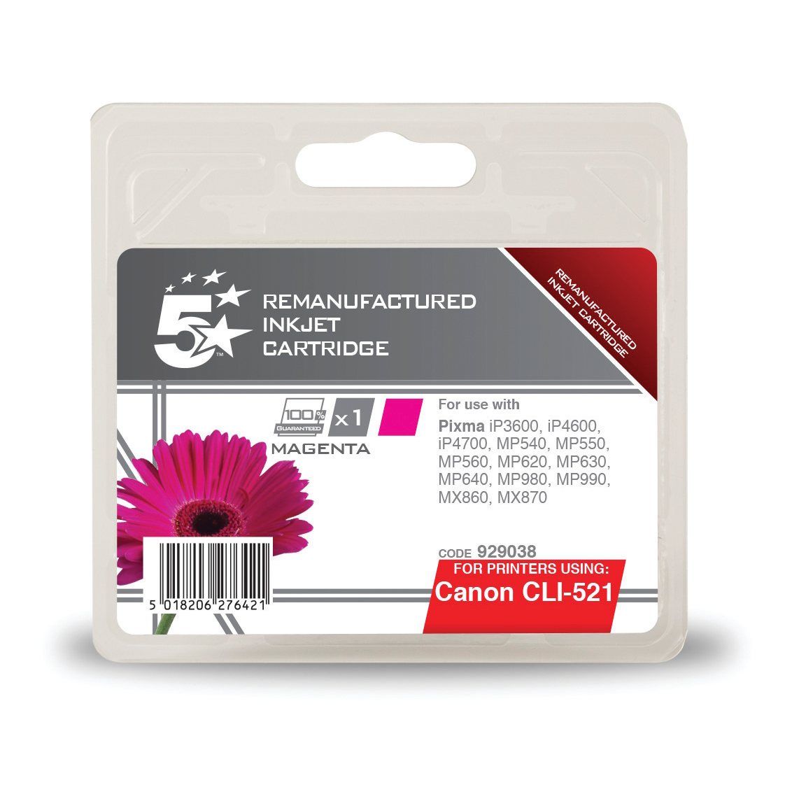 Inkjet Cartridges 5 Star Office Remanufactured Inkjet Cartridge Page Life 450pp 9ml Magenta Canon CLI-521M Alternative