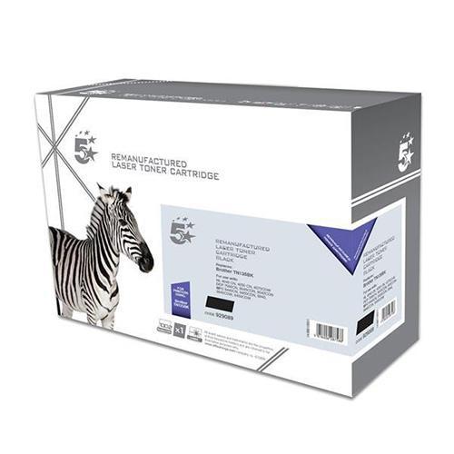 5 Star Office Reman Laser Toner Cartridge High Yield Page Life 5000pp Black [Brother TN135BK Alternative]