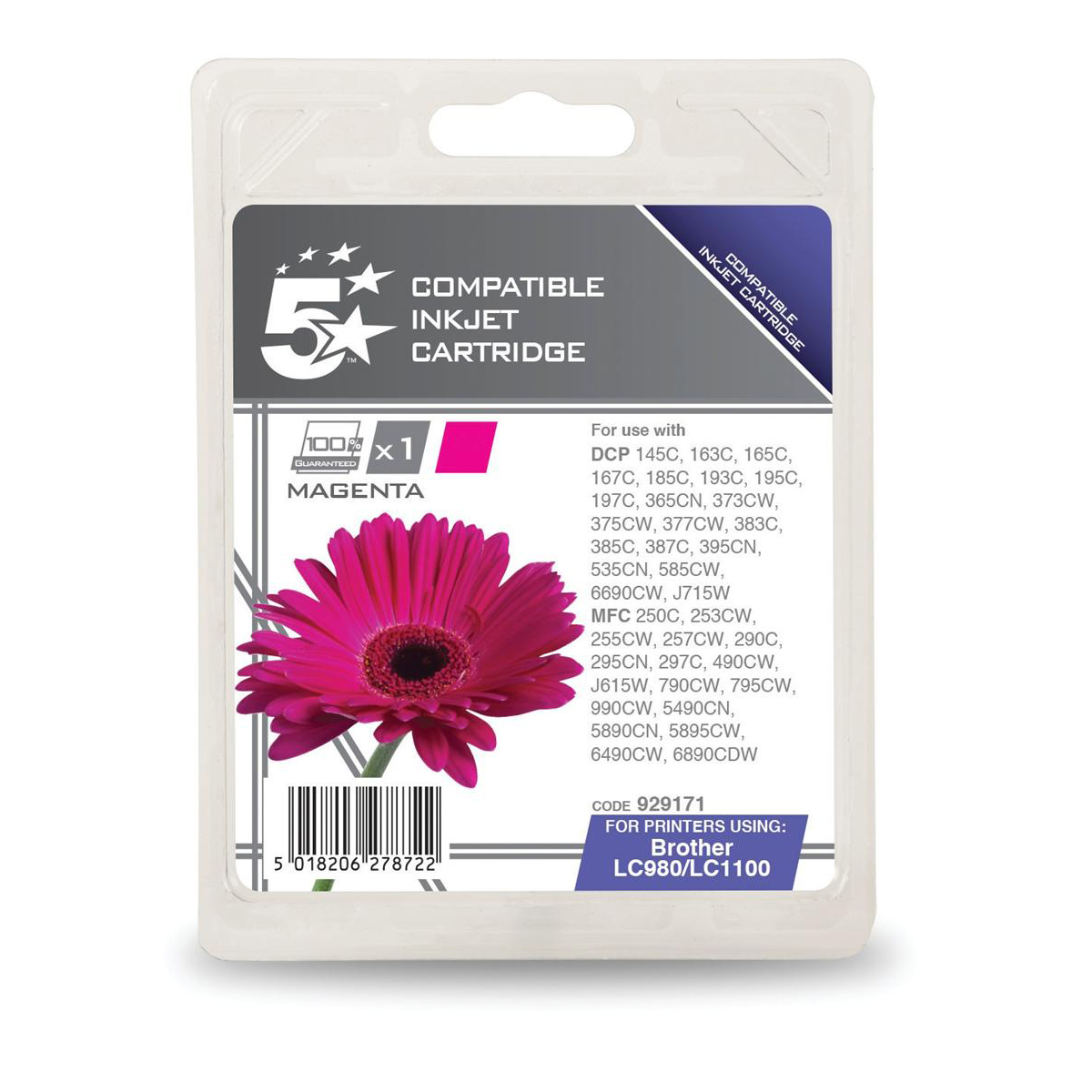 Inkjet Cartridges 5 Star Office Remanufactured Inkjet Cartridge Page Life 325pp Magenta Brother LC1100M Alternative