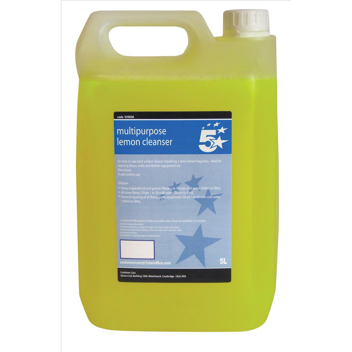 Cleaning Chemicals 5 Star Facilities Concentrated Multipurpose Cleaner Lemon 5 Litre