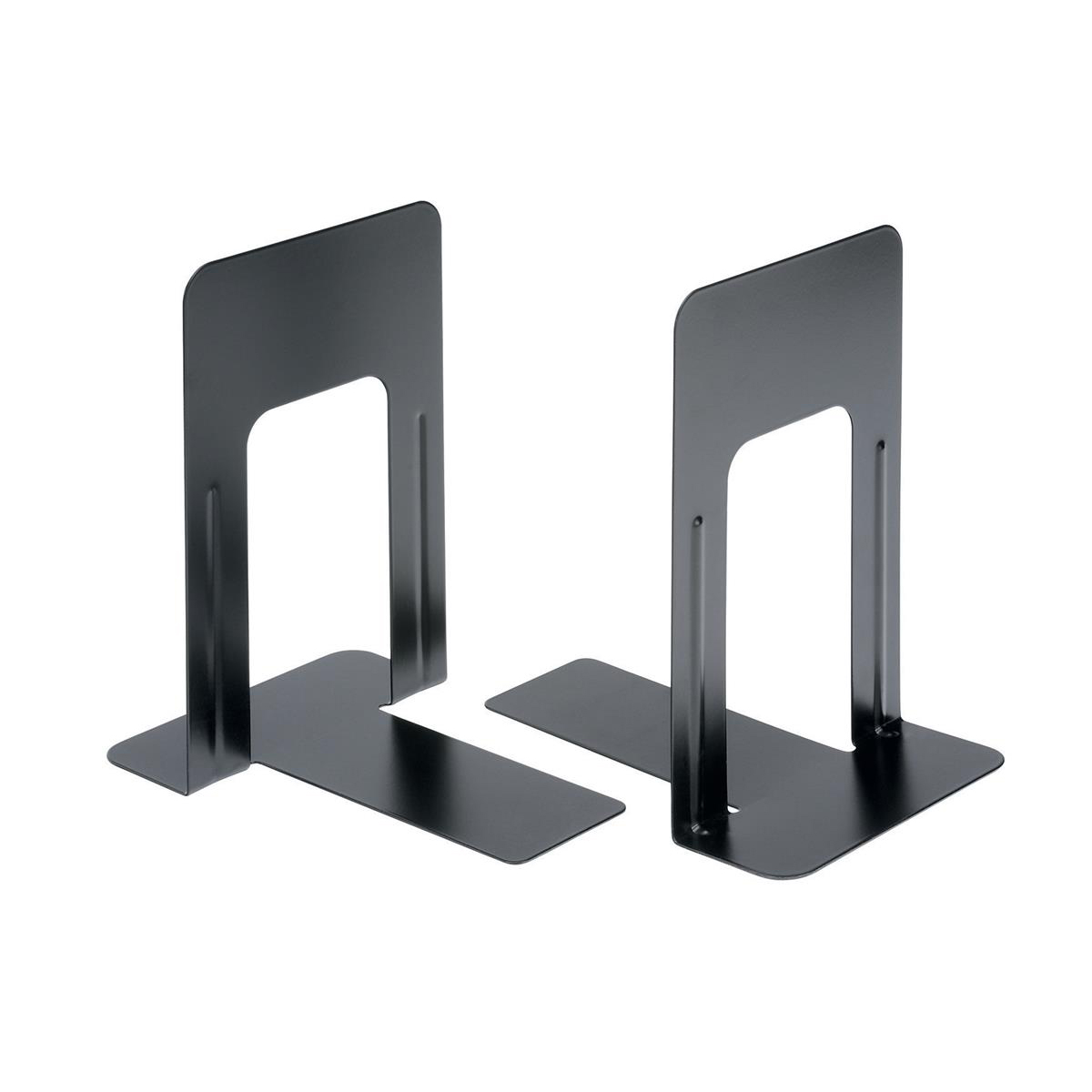 5 Star Office Bookends 180mm Metal Heavy Duty 7 Inch Black Pack 2