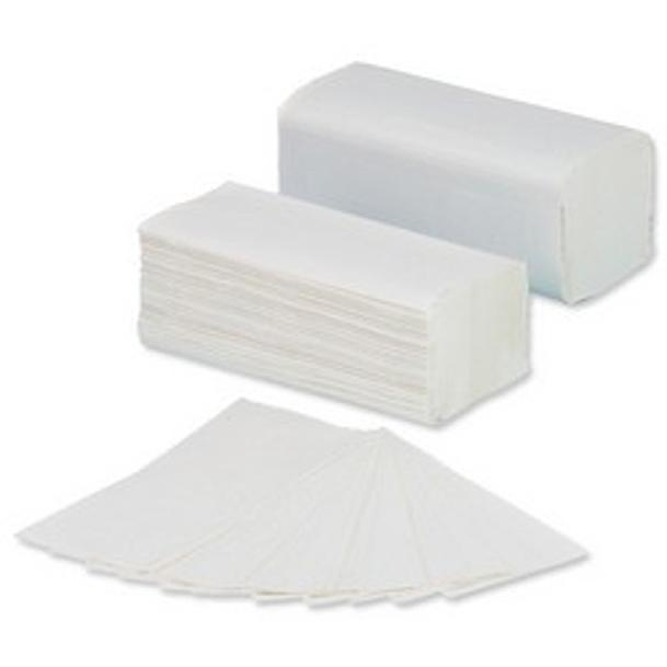 5 Star Facilities Hand Towel V-Fold Two-ply Recycled Size 250x210mm 200 Towels Per Sleeve White [Pack 16]