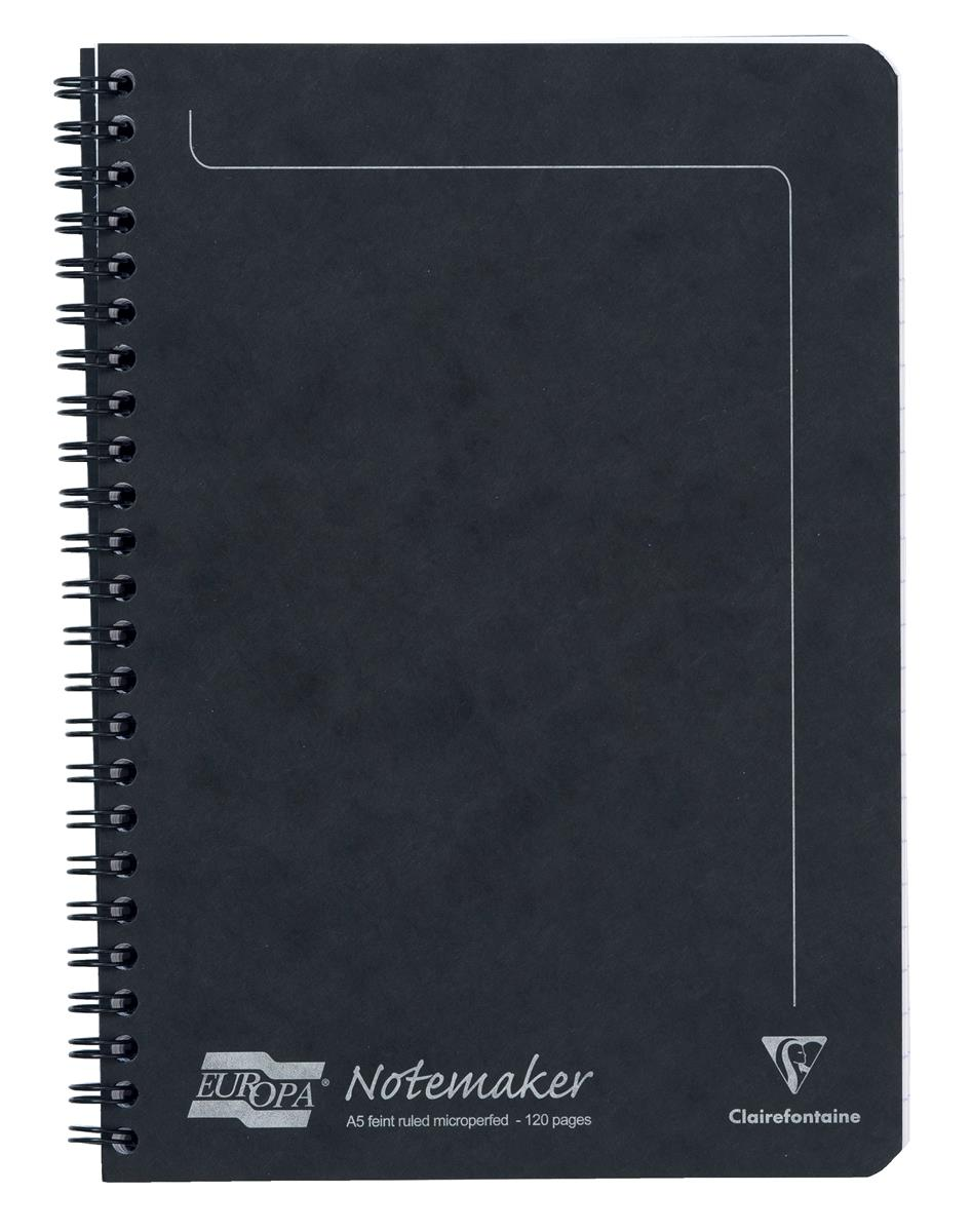 Image for Europa Notebook Twinwire Sidebound Ruled 90gsm 120pp Micro-perforated A5 Black Ref 4852Z [Pack 10]