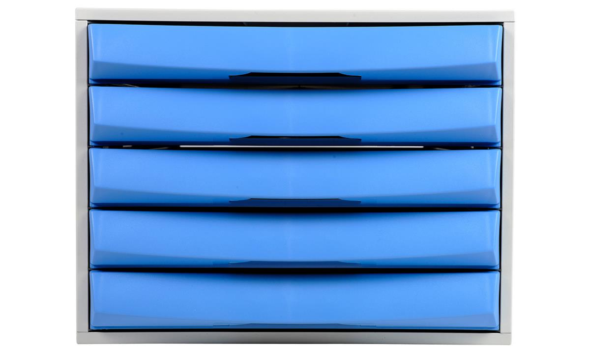 Image for Exacompta Drawer Set Plastic Robust Stable Five Drawers A4 Plus Grey/Ice Blue