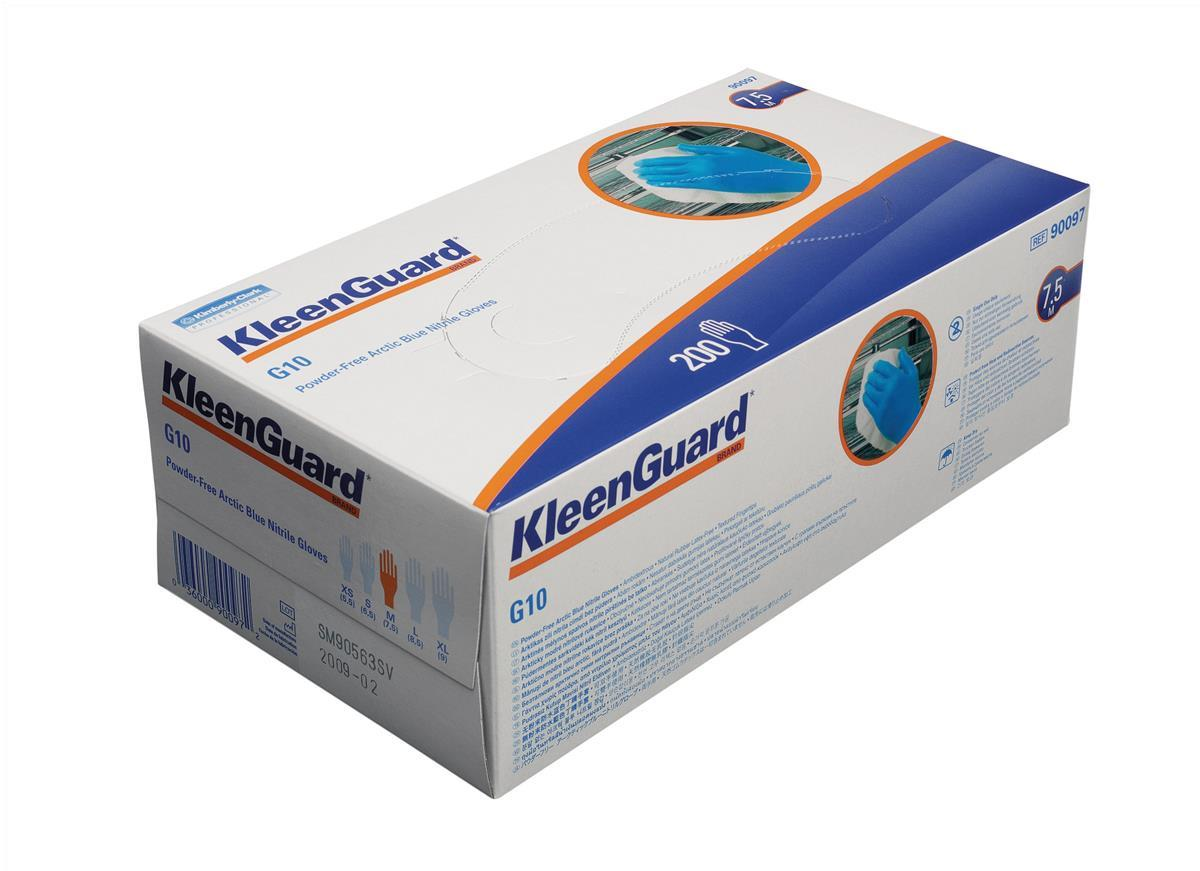KleenGuard G10 Nitrile Gloves Powder Free Natural Rubber Medium Arctic Blue Ref 90097 [Box 200]