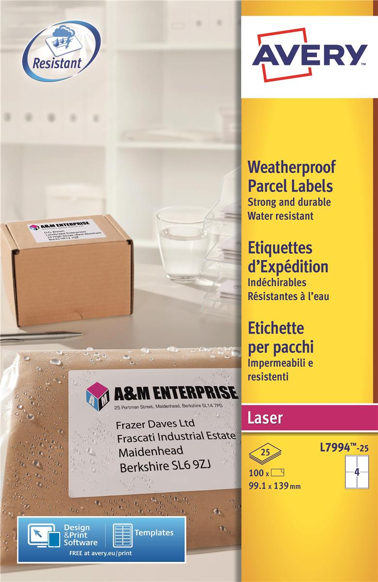Image for Avery Weatherproof Shipping Labels Laser 4 per Sheet 99.1x139mm Ref L7994-25 [100 Labels]