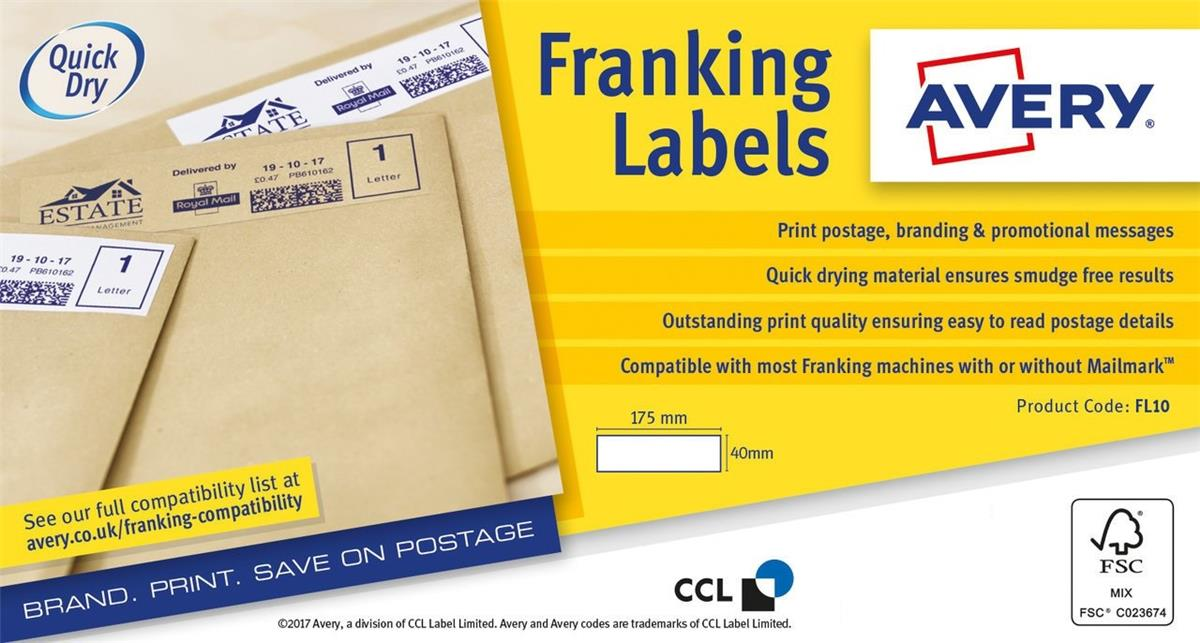 Image for Avery Auto Franking 1 Per Sheet 175x40mm White Ref FL10 [1000 Labels]