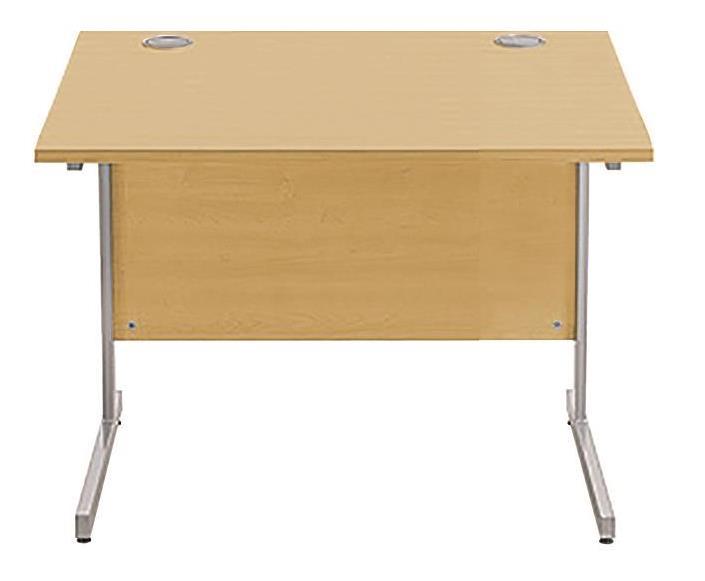 Image for Sonix Cantilever Desk Rectangular Silver Cantilever Leg 800mm Natural Oak