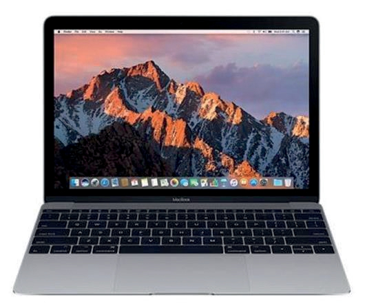 Image for Apple MacBook Mac OS Wi-Fi 8GB RAM 256GB SDD 12-hour Battery 12in Space Grey Ref MNYF2B/A