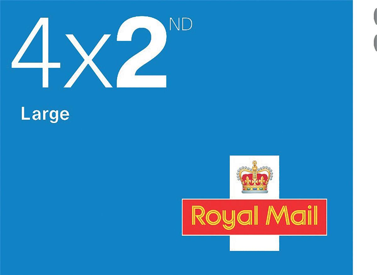Image for Royal Mail Second Class Large Letter Stamps [25 x Book of 4]