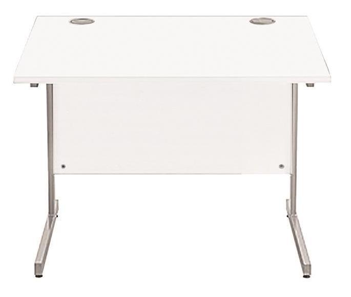 Image for Sonix Cantilever Desk Rectangular Silver Cantilever Leg 800mm Polar White