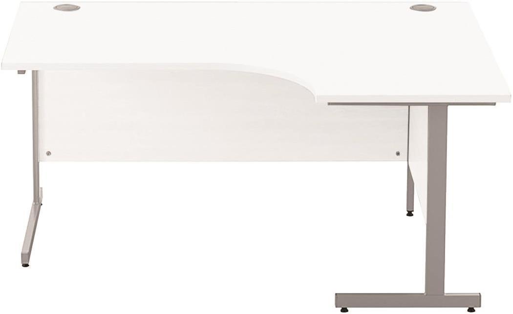Image for Sonix Cantilever Radial Desk Silver Cantilever Leg 1600mm Polar White