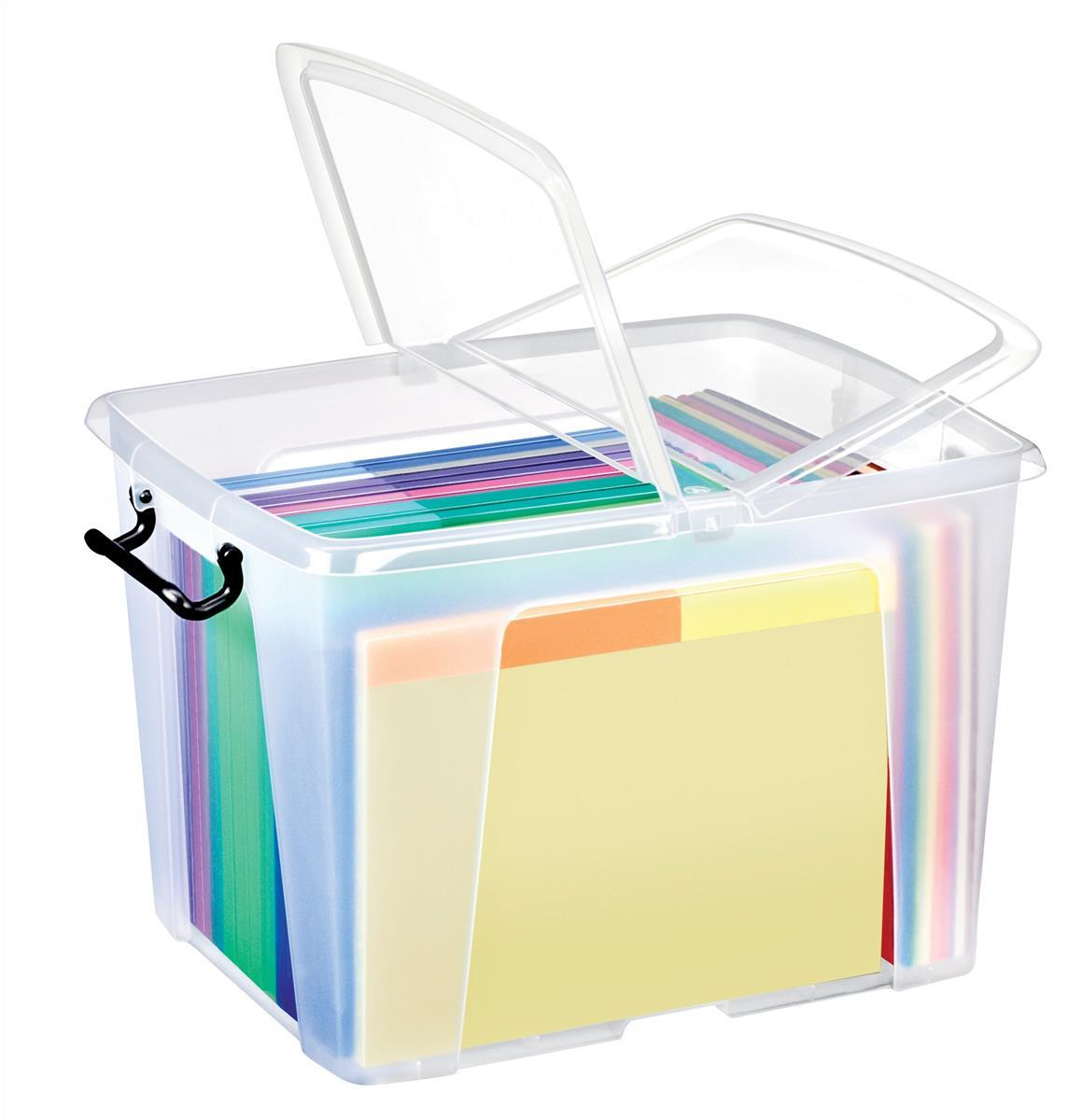 Image for Strata Smart Box Clip-On Folding Lid Carry Handles 40 Litre Clear Ref HW674CLR